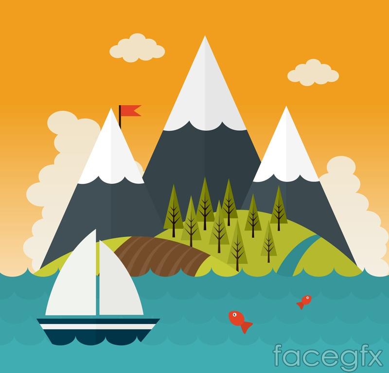 Cartoon sea and mountain views vector graphics