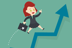 Business woman business growth on the arrow vector graphics
