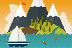 Cartoon sea and mountain views vector graphics