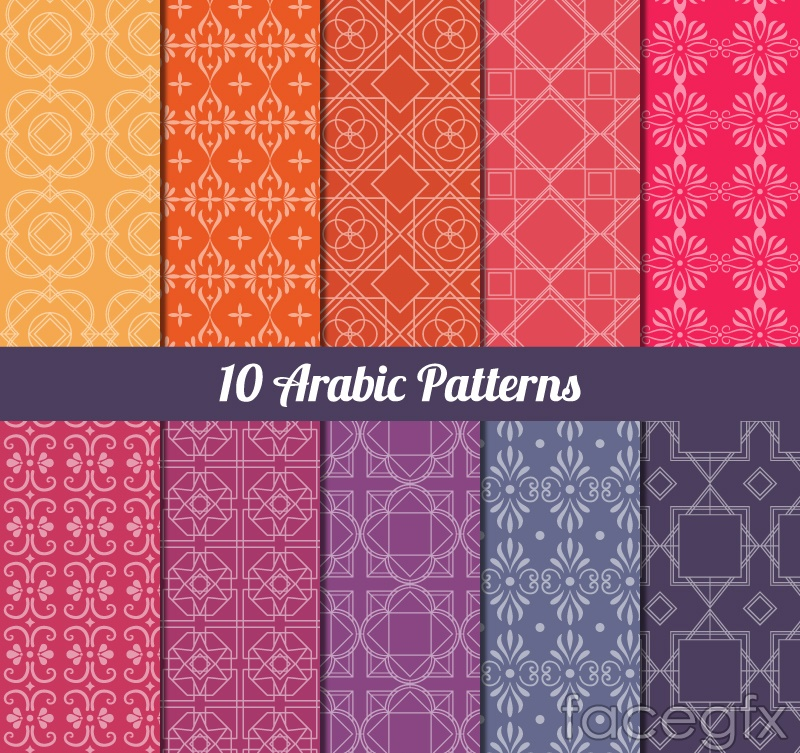 10 color patterns Arab background vector