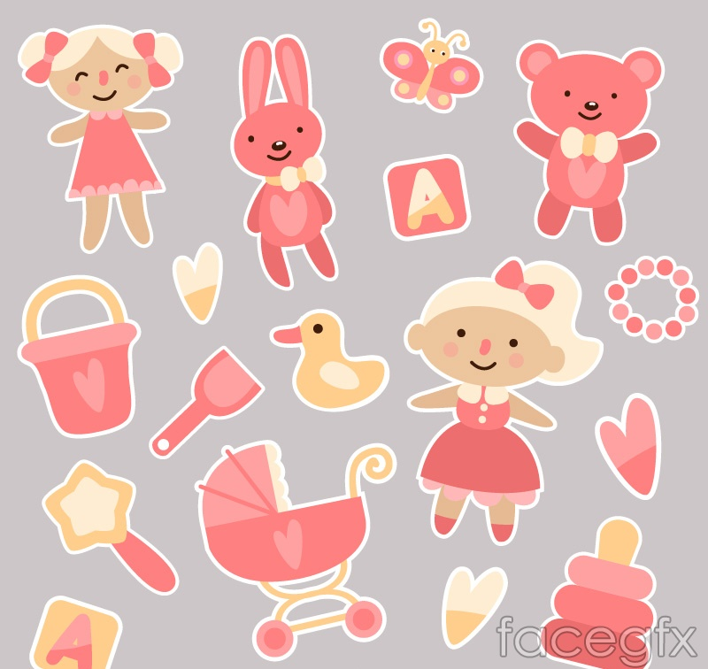 17 pink baby toy vector