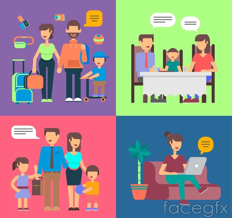 4 family of creative Illustrator vector