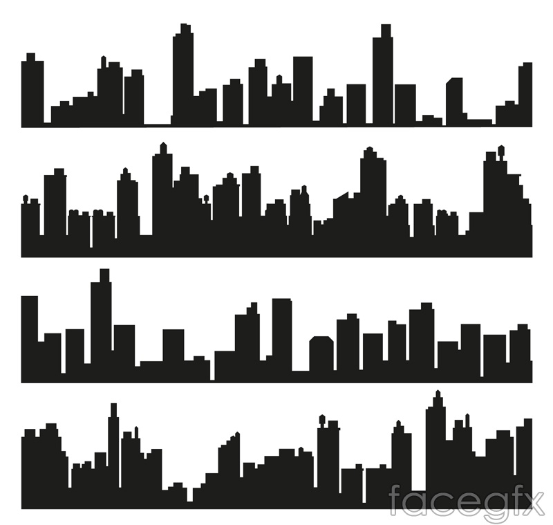 4 groups of buildings of the city silhouette vector