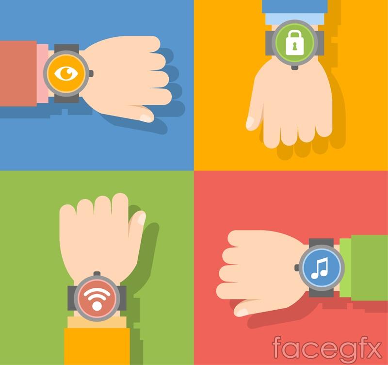 4 wear Smart Watches arm vector diagrams