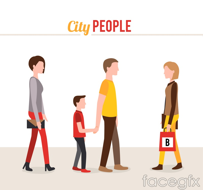 Cartoon town character design vector graph