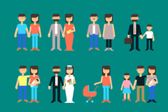 12 family character design vector