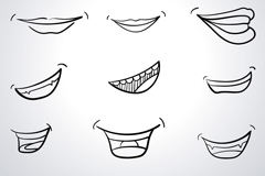 12 hand-painted mouth design vector