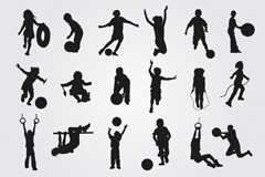 18 playing children's silhouettes vector