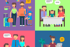 4 family of creative Illustrator vector