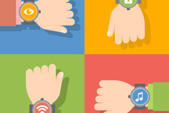 4 wear Smart Watches arm vector diagrams