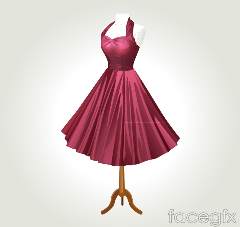 Beautiful red dress vector
