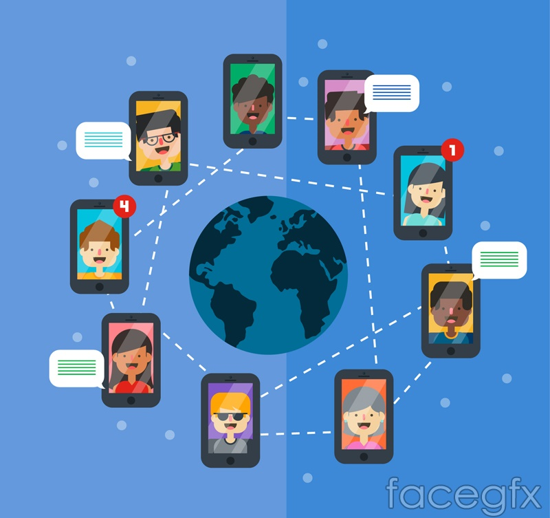 Creative social life phone vector illustration