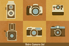 9 retro camera icon vector