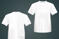 Both sides of a white t-shirt vector
