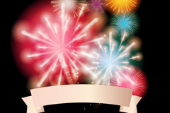 Color Ribbon and Fireworks vector