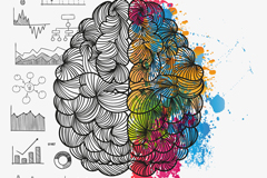 Painted brain design vector