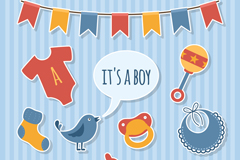 10 baby party decoration elements vector