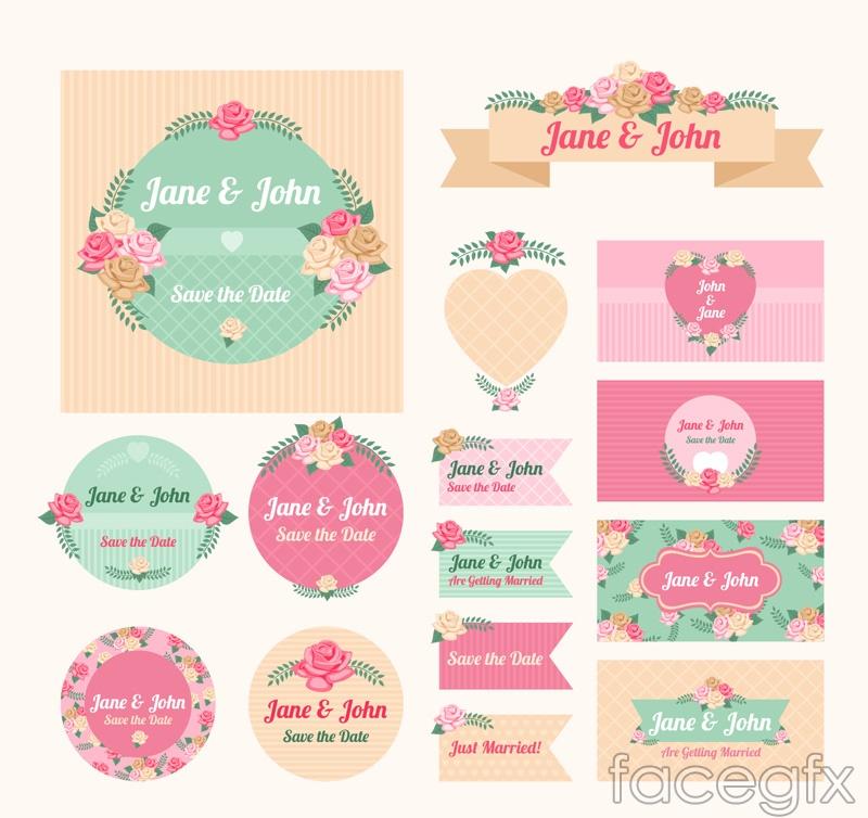15 flower wedding labels vector diagrams