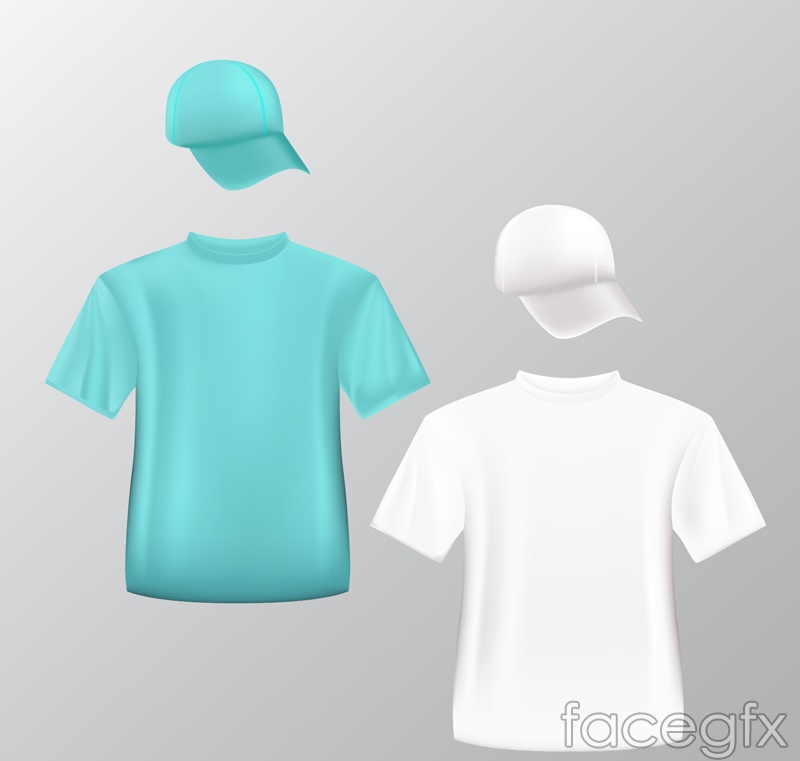 2 fashion t-shirt and hat vector