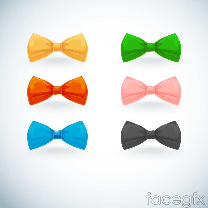 6 color bow vector diagrams