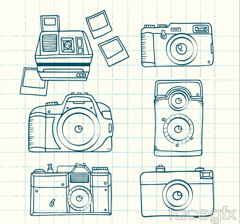 6 hand-painted camera vector