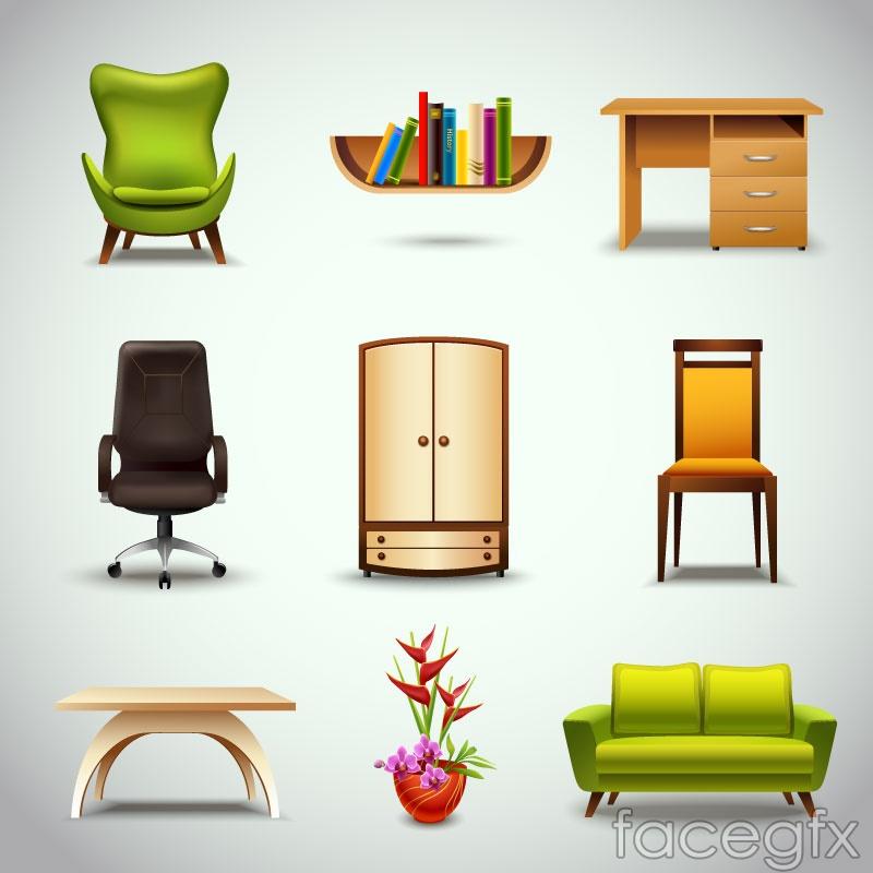 9 beautiful furniture design vector graph
