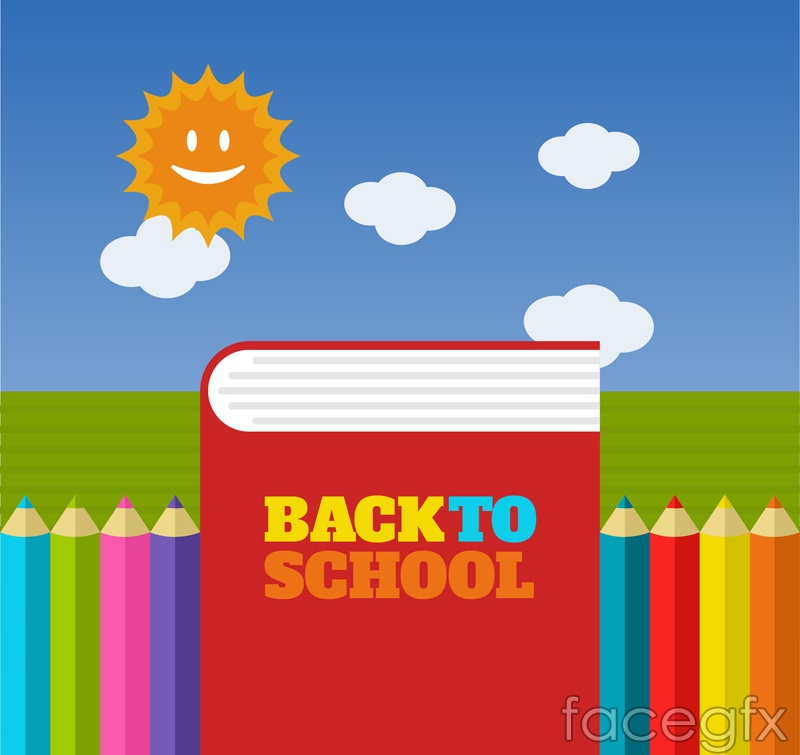 Back to school color book poster vector graphics
