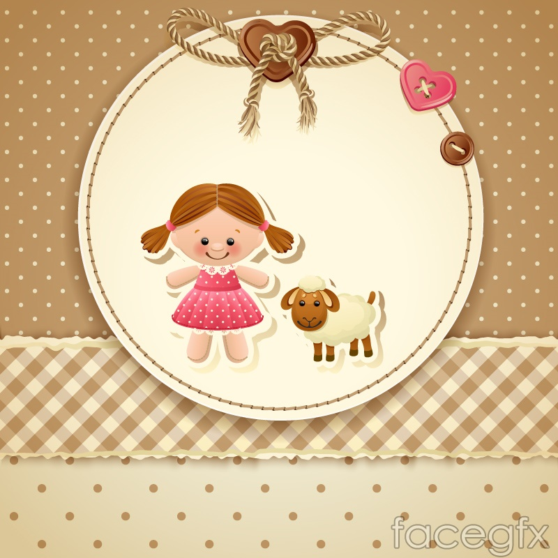 Cute girl and the sheep cards vector illustration
