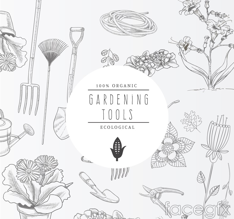 Gardening Tools and hand-painted flowers vector