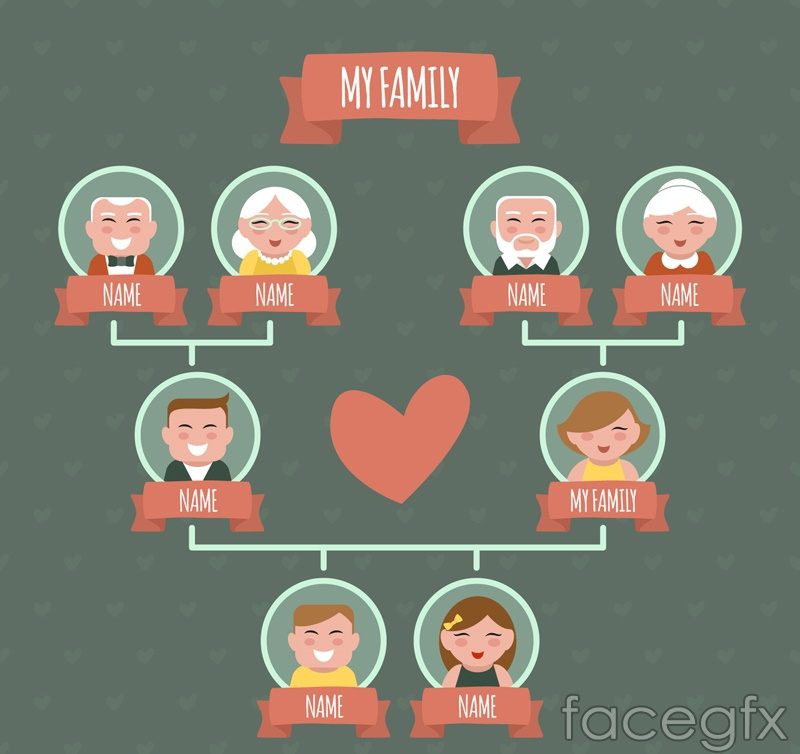 Lovely family tree design vector