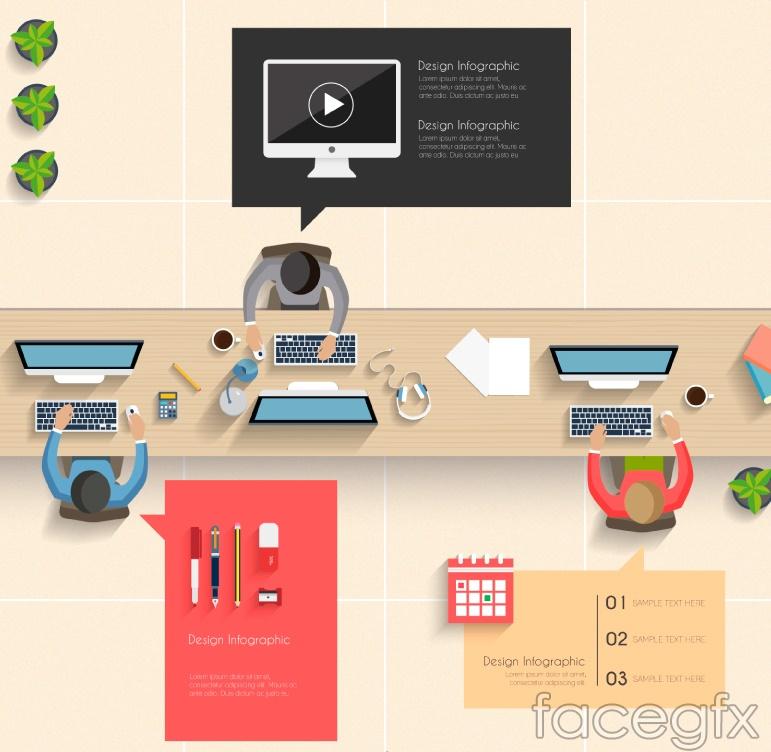 Office overlooking cartoon vector
