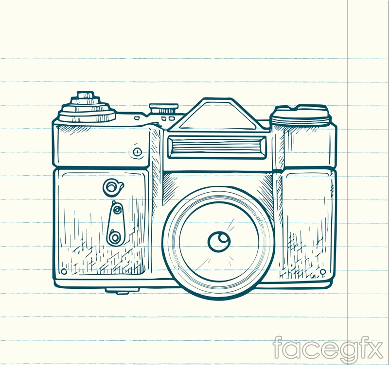 Hand-painted digital camera vector