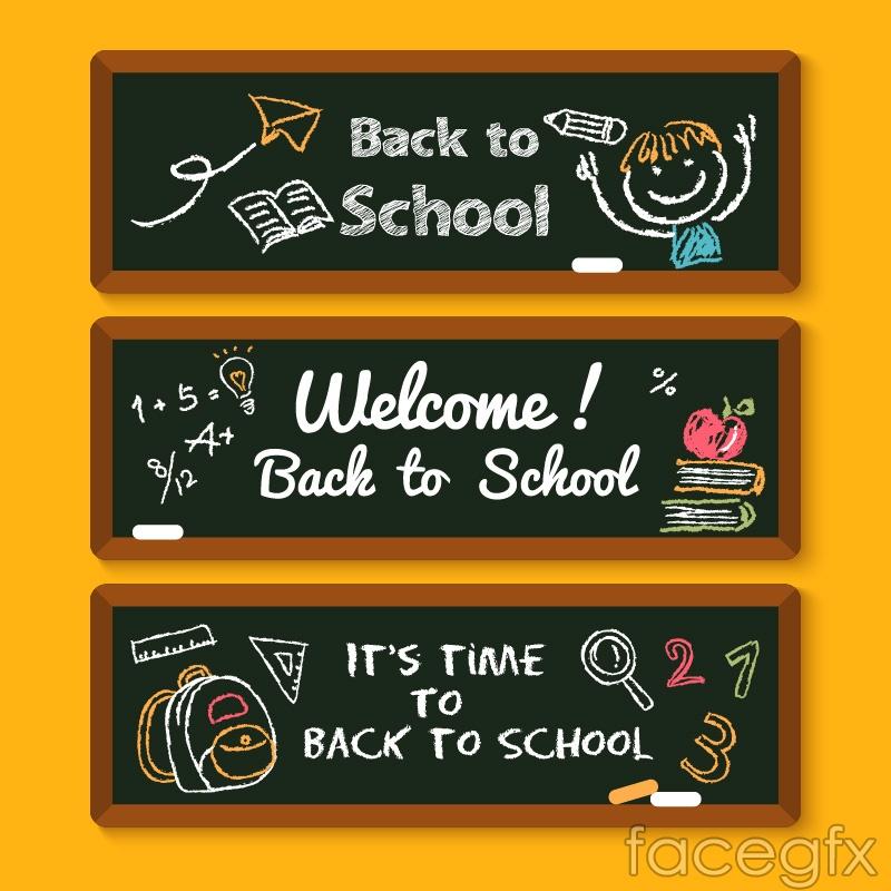 3 campus Blackboard banner vector