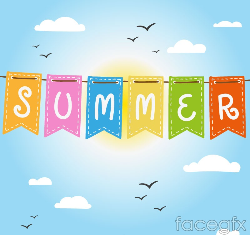 Color summer hanging banner vector