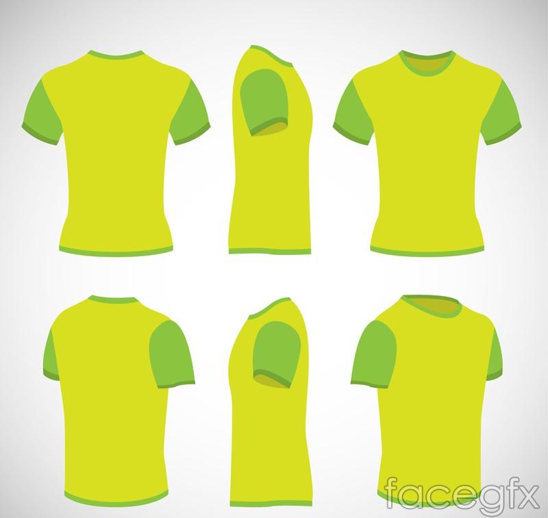 Multi-angle green t-shirt design vector
