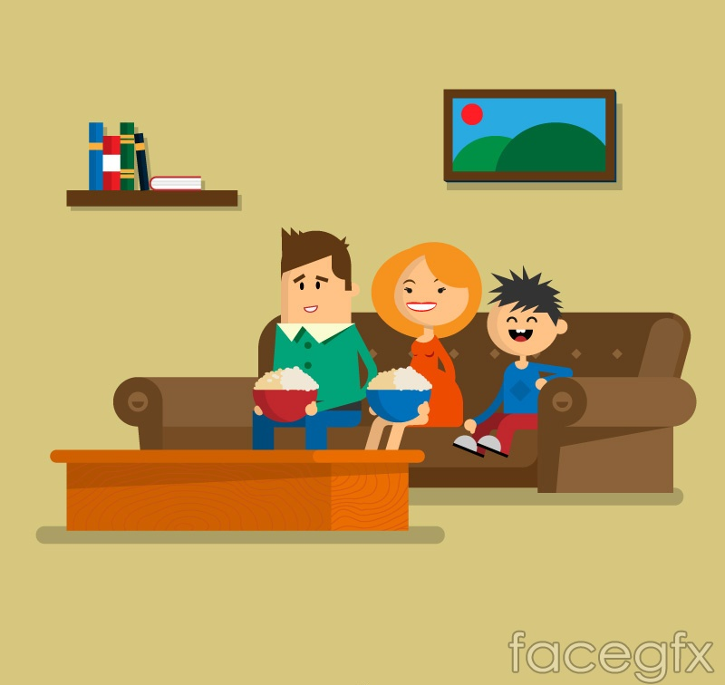 Sitting on the sofa of a family of three vector diagrams