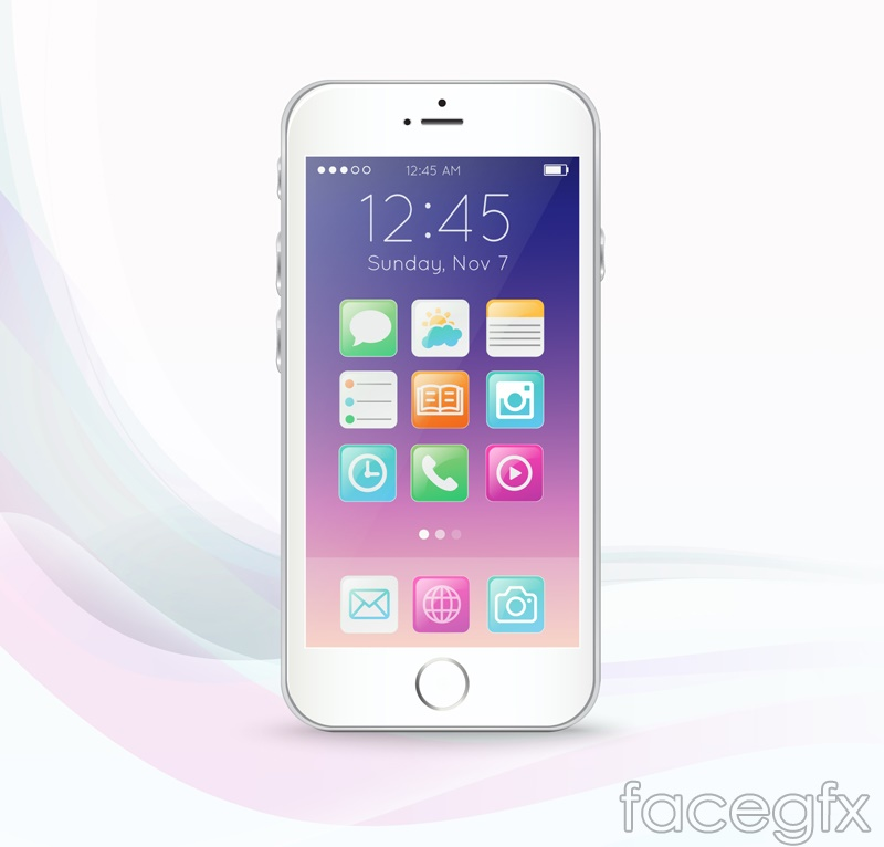 White mobile phone design vector
