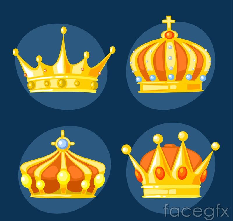 4 beautiful Crown design vector graph