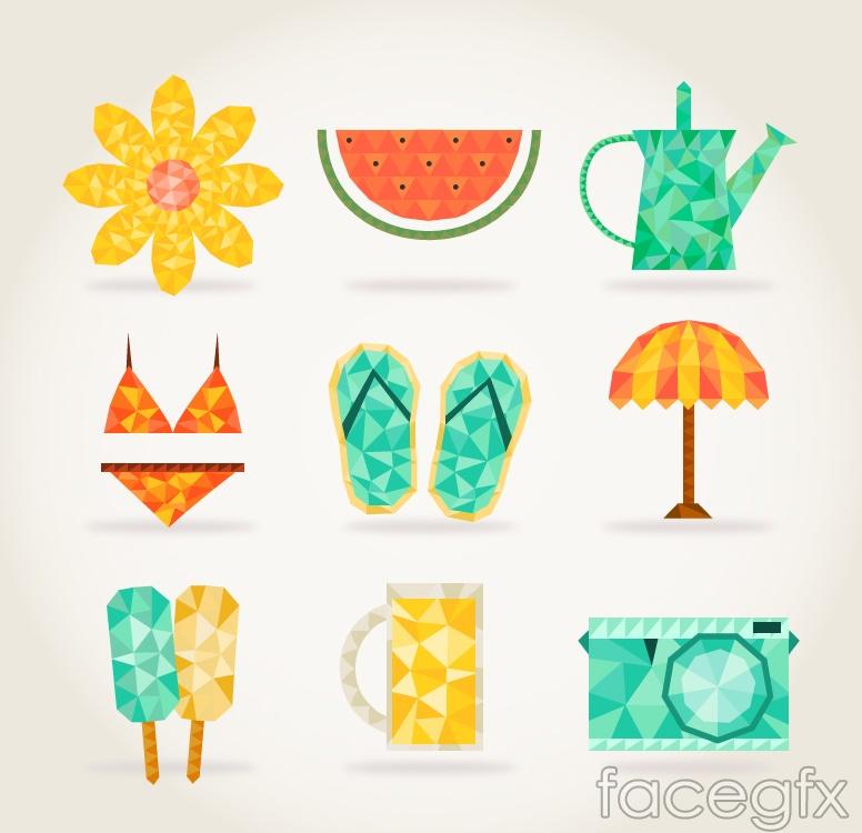 9 creative summer element icon vector
