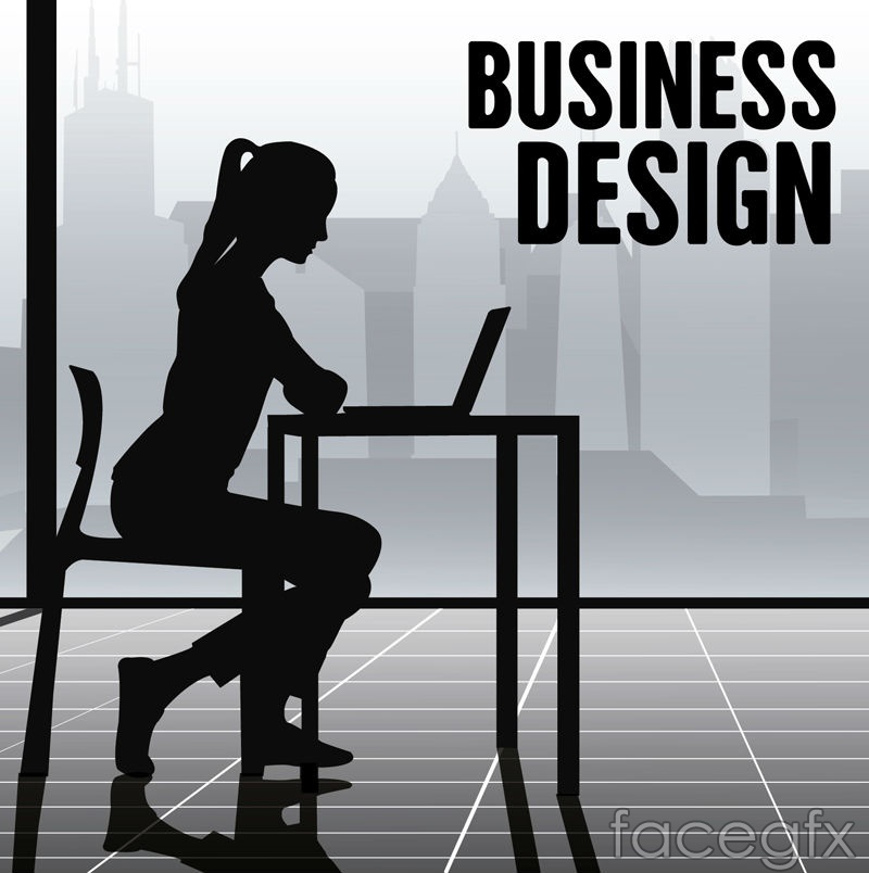 Business women's silhouettes vector