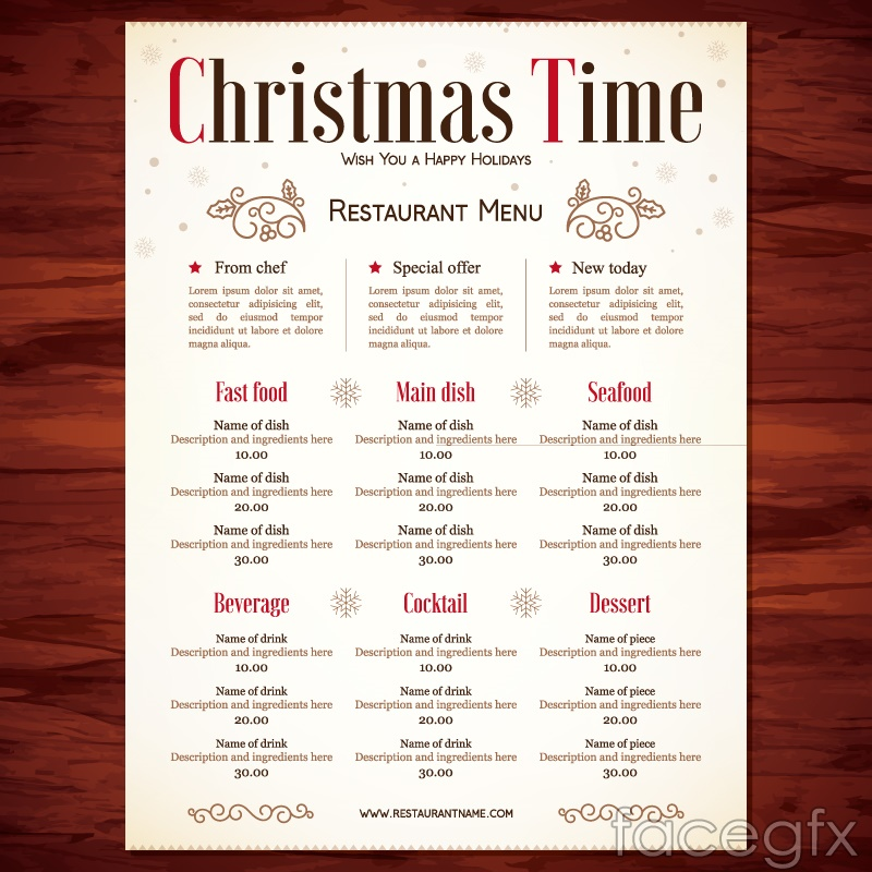 Creative restaurant menus for Christmas vector graphics