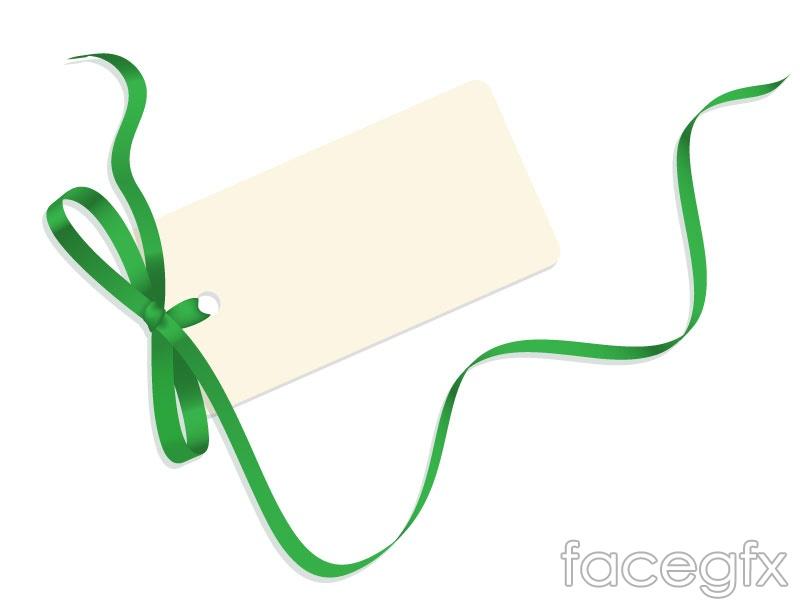 Green bow card vector