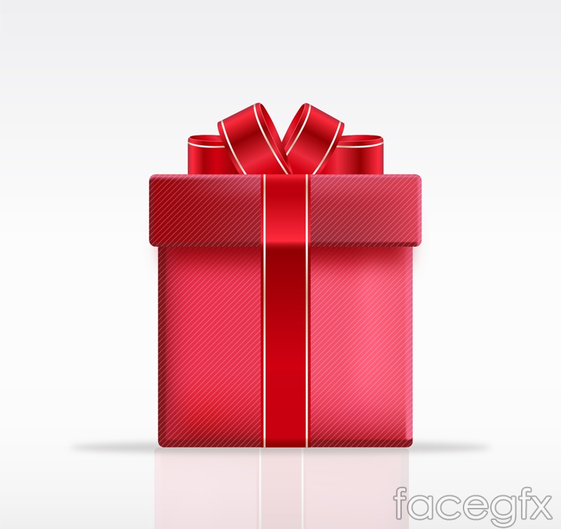 Red Ribbon gift box design vector