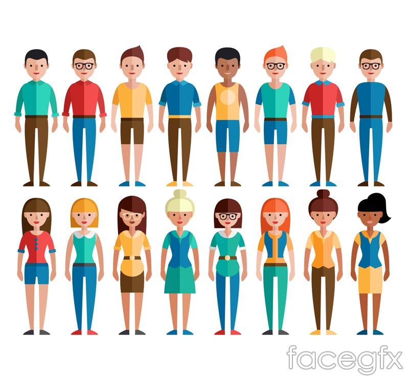 16 flat characters vector graphics