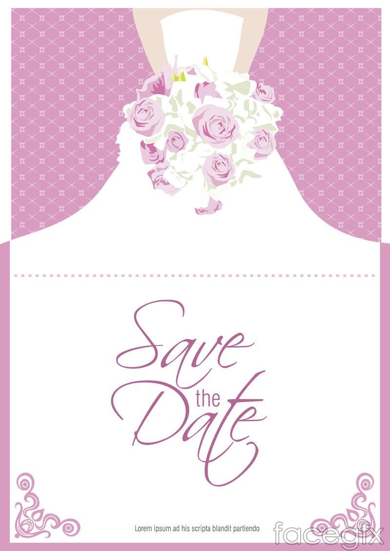 Bouquet bride folding card vector