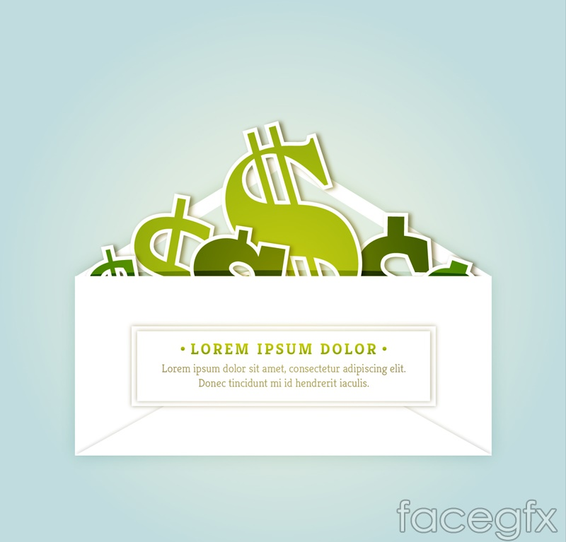 Envelopes of currency symbol vector