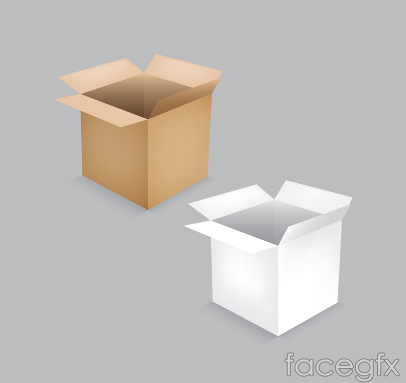 Open the cardboard box vector