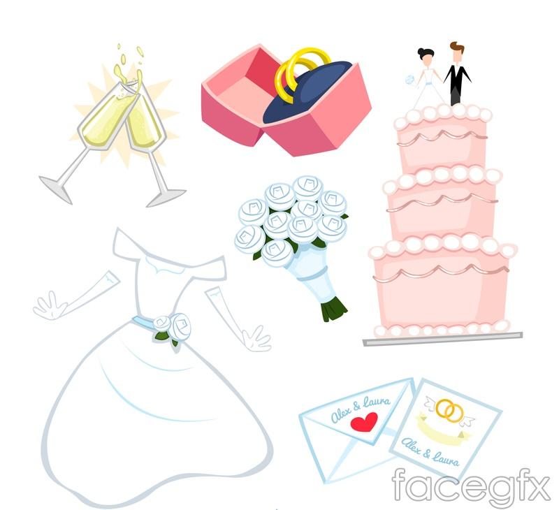 Wedding 6 cartoon element vector