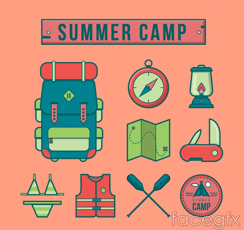 9 summer camp icons vector
