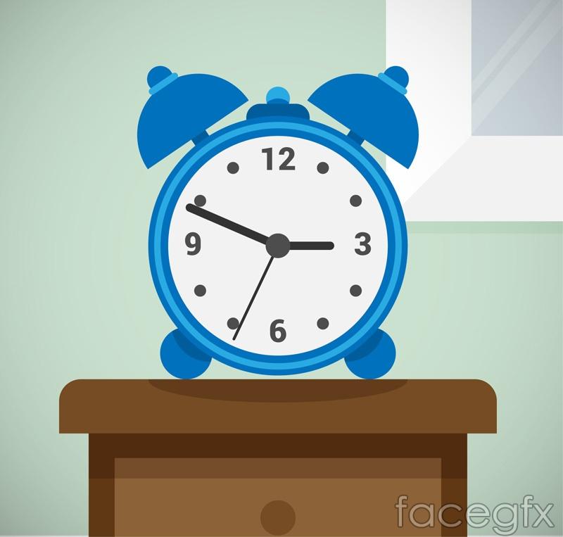 Blue alarm clock on the dresser vector